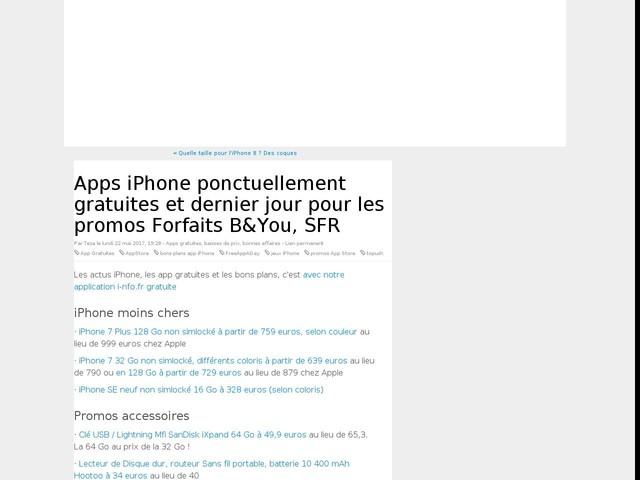 Apps iPhone ponctuellement gratuites et dernier jour pour les promos Forfaits B&You, SFR