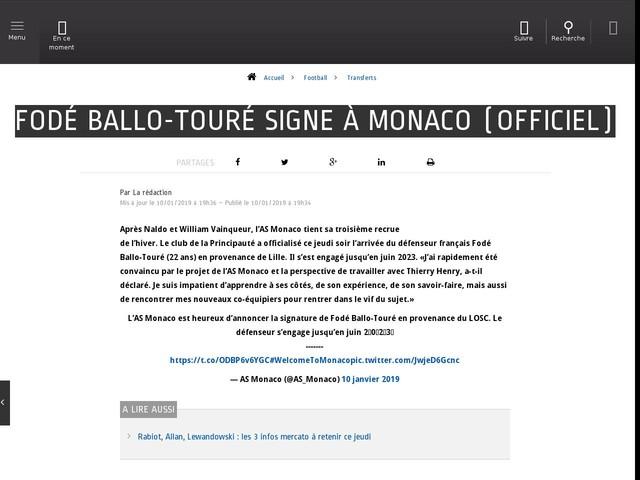 Football - Transferts - Fodé Ballo-Touré signe à Monaco (officiel)