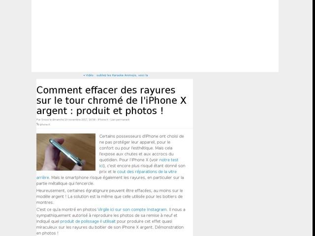 Comment effacer des rayures sur le tour chromé de l'iPhone X argent : produit et photos !