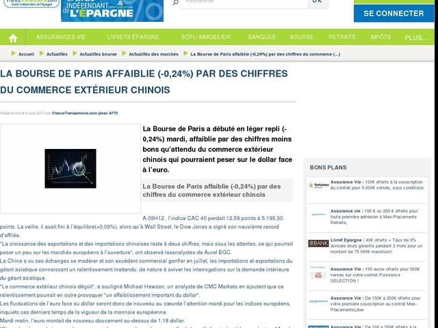 La Bourse de Paris affaiblie (-0,24%) par des chiffres du commerce extérieur chinois