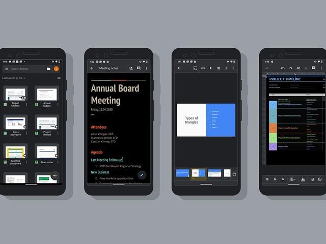 Google Docs, Sheets et Slides avec thème sombre sur Android