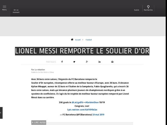 Football - Lionel Messi remporte le Soulier d'Or