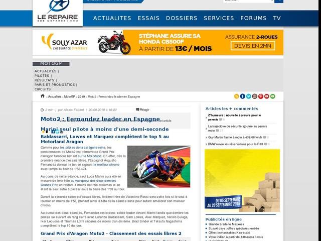 Moto2 : Fernandez leader en Espagne