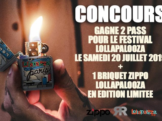 Concours : Gagne 1 briquet Zippo édition 'Lollapalooza' et 2 pass pour le festival à Paris !