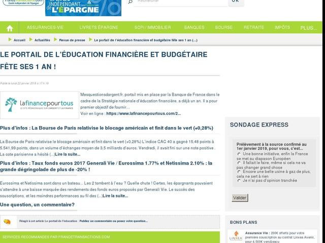 Le portail de l'éducation financière et budgétaire fête ses 1 an !