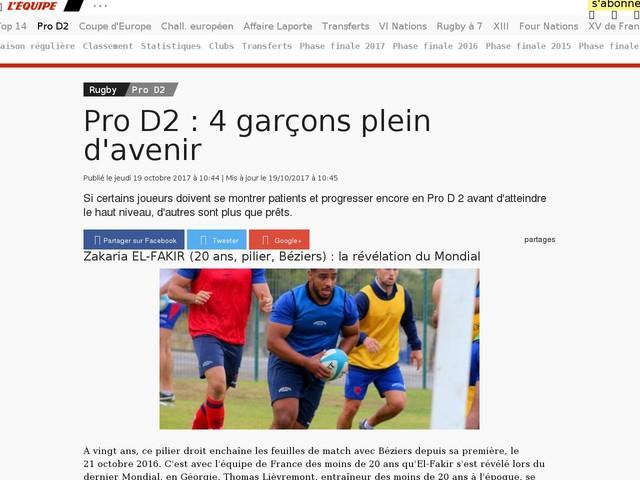 Rugby - Pro D2 - Pro D2 : 4 garçons plein d'avenir