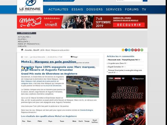 Moto2 : Marquez en pole position