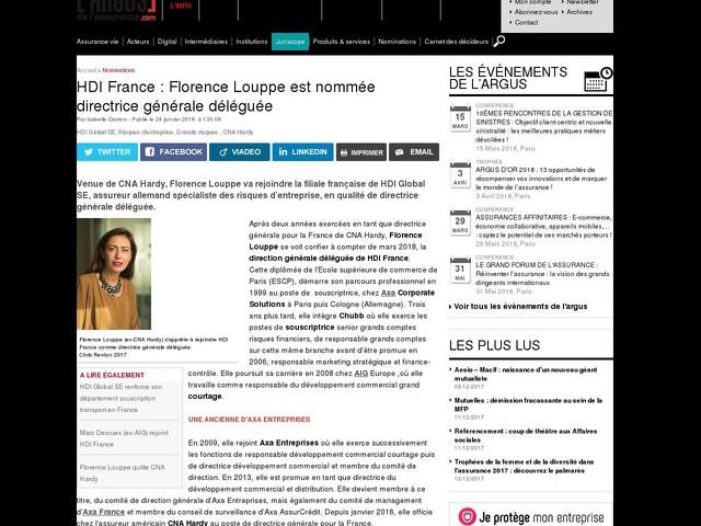 HDI France : Florence Louppe est nommée directrice générale déléguée