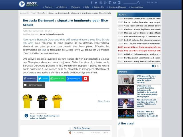 Borussia Dortmund : signature imminente pour Nico Schulz