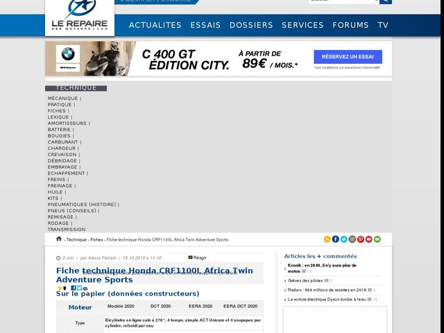 Fiche technique Honda CRF1100L Africa Twin Adventure Sports