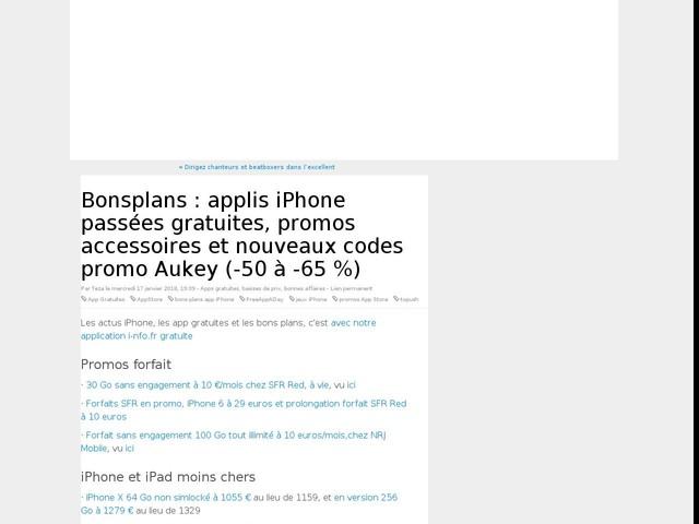 Bonsplans : applis iPhone passées gratuites, promos accessoires et nouveaux codes promo Aukey (-50 à -65 %)