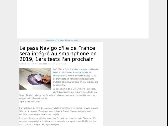 Le pass Navigo d'Ile de France sera intégré au smartphone en 2019, 1ers tests l'an prochain
