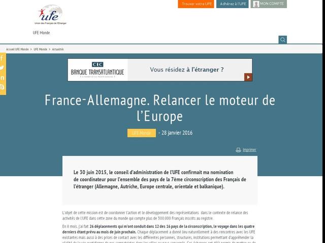 France-Allemagne. Relancer le moteur de l'Europe