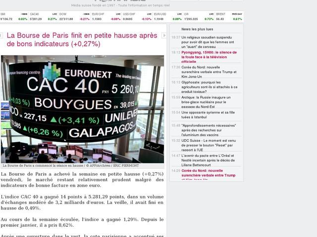 La Bourse de Paris finit en petite hausse après de bons indicateurs (+0,27%)