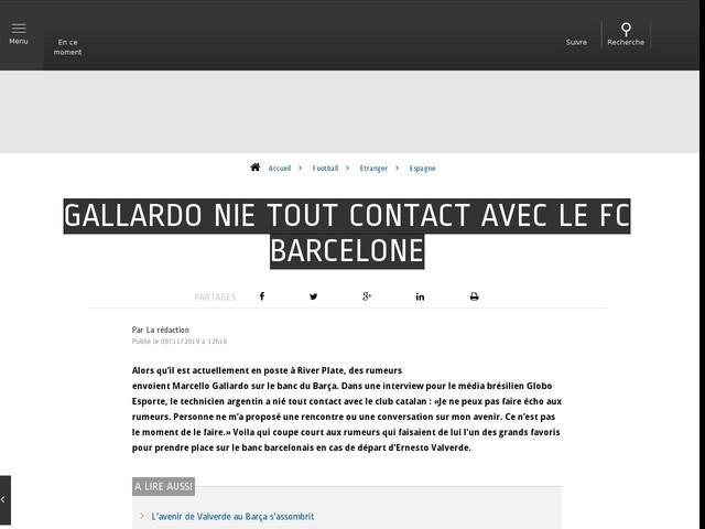 Football - Etranger - Gallardo nie tout contact avec le FC Barcelone