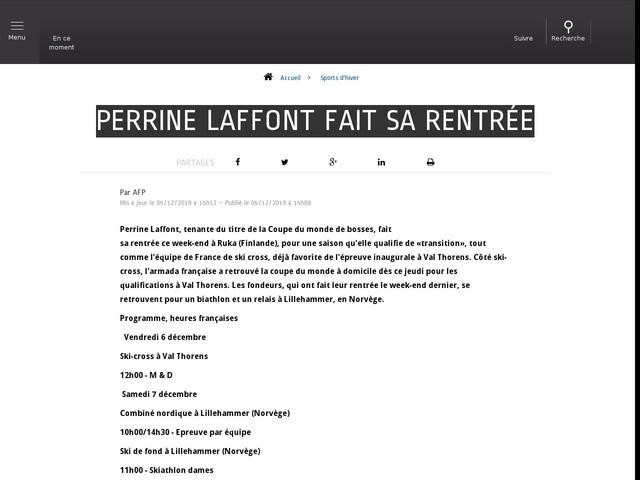 Sports d'hiver - Perrine Laffont fait sa rentrée