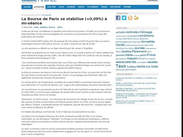 La Bourse de Paris se stabilise (+0,09%) à mi-séance