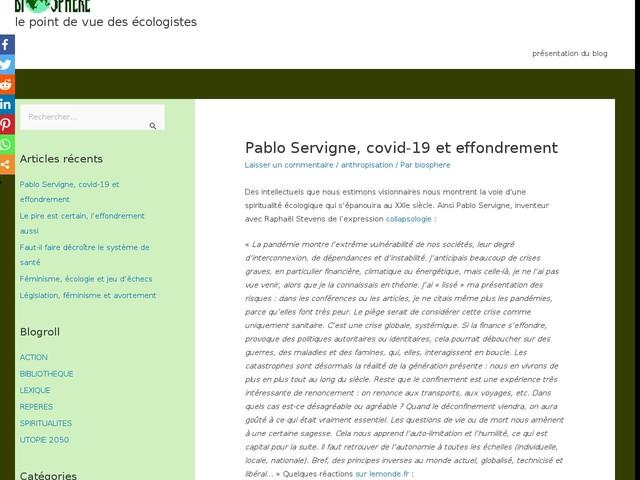 Pablo Servigne, covid-19 et effondrement