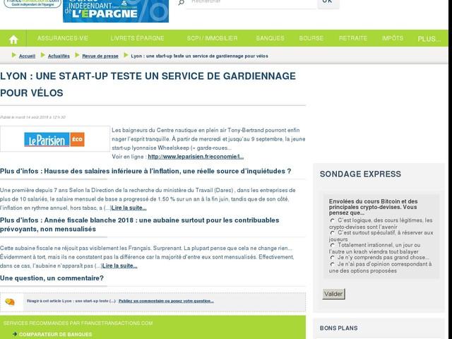 Lyon : une start-up teste un service de gardiennage pour vélos