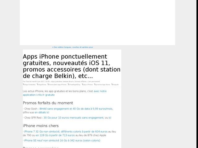 Apps iPhone ponctuellement gratuites, nouveautés iOS 11, promos accessoires (dont station de charge Belkin), etc...