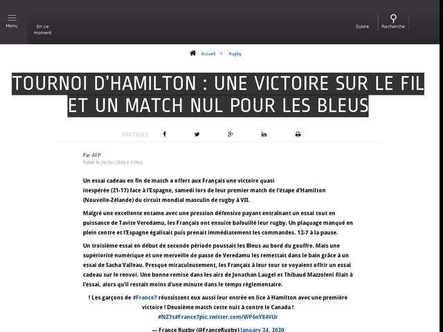 Rugby - Tournoi d'Hamilton : une victoire sur le fil et un match nul pour les Bleus
