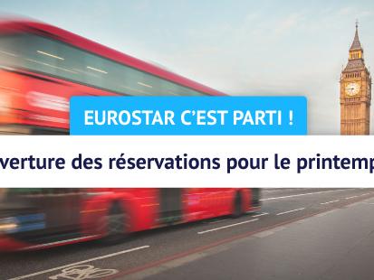 Eurostar : billets à partir de 56€ l'aller simple pour les vacances de printemps 2020