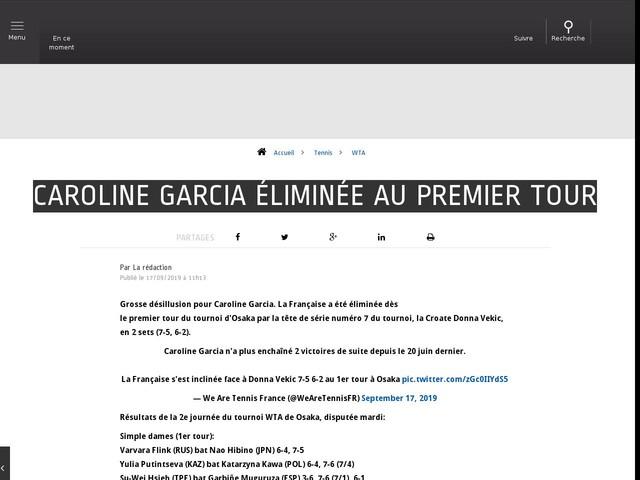 Tennis - WTA - Caroline Garcia éliminée au premier tour