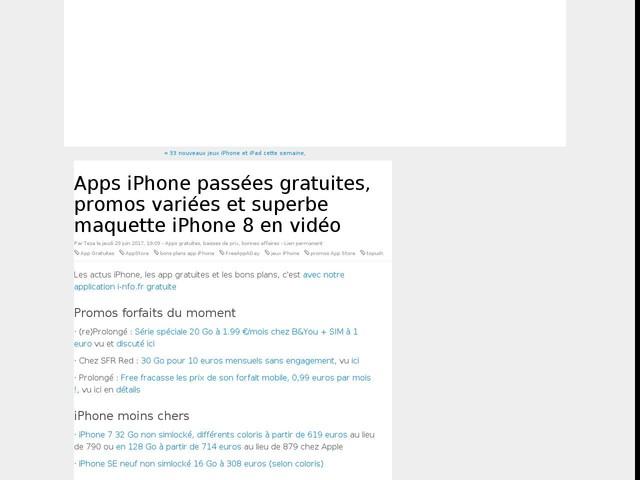 Apps iPhone passées gratuites, promos variées et superbe maquette iPhone 8 en vidéo