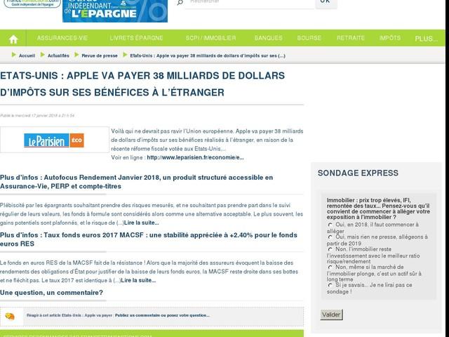 Etats-Unis : Apple va payer 38 milliards de dollars d'impôts sur ses bénéfices à l'étranger