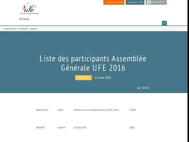 Liste des participants Assemblée Générale UFE 2016
