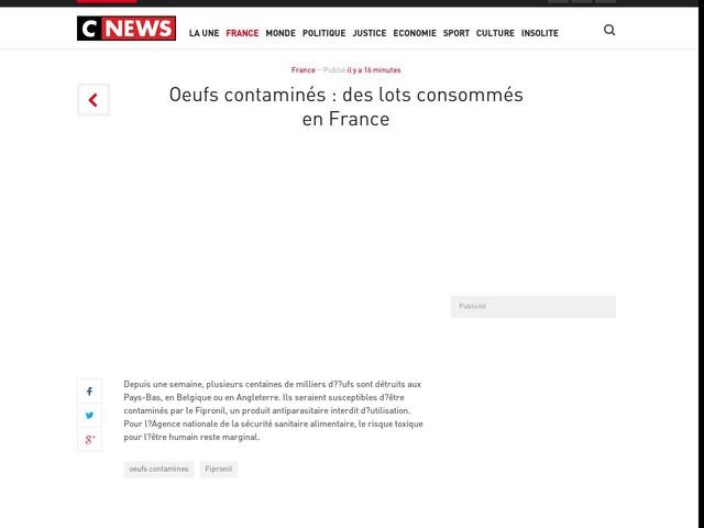 Oeufs contaminés : des lots consommés en France