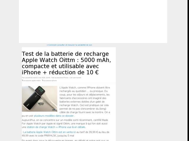 Test de la batterie de recharge Apple Watch Oittm : 5000 mAh, compacte et utilisable avec iPhone + réduction de 10 €
