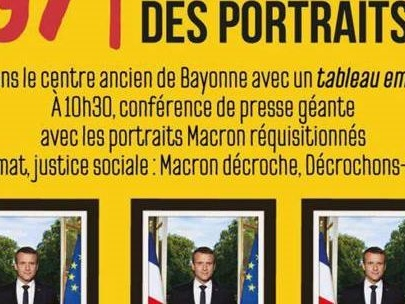 Bayonne : les 200 portraits officiels d'Emmanuel Macron décrochés exposés dimanche lors du contre-sommet du G7