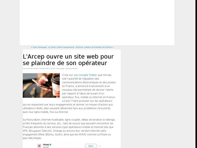 L'Arcep ouvre un site web pour se plaindre de son opérateur