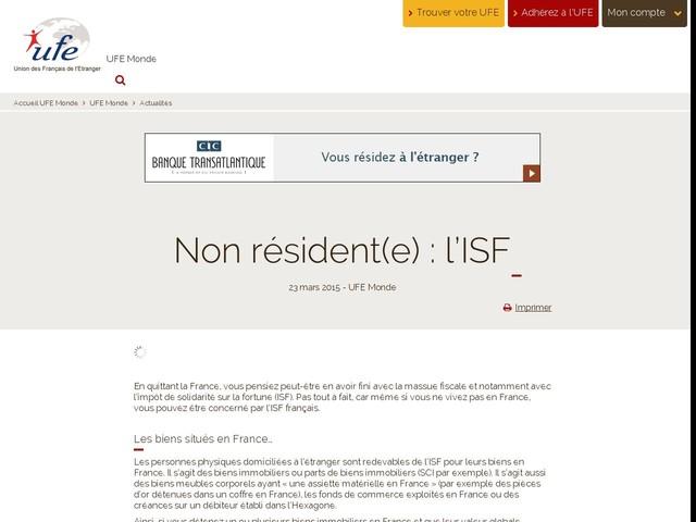 Non résident(e) : l'ISF