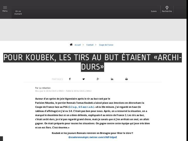 Football - Coupe de France - Pour Koubek, les tirs au but étaient «archi-durs»