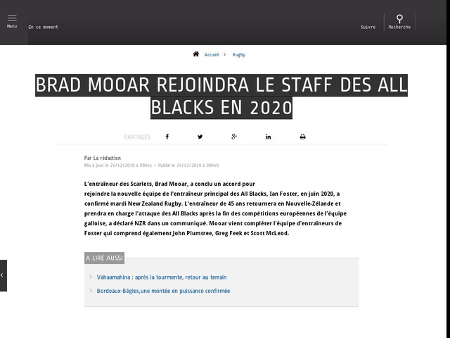 Rugby - Brad Mooar rejoindra le staff des All Blacks en 2020