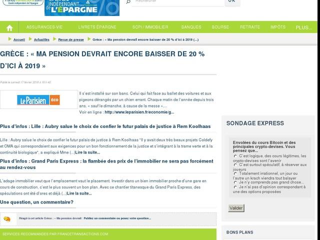 Grèce : « Ma pension devrait encore baisser de 20 % d'ici à 2019 »