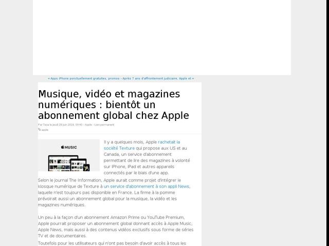 Musique, vidéo et magazines numériques : bientôt un abonnement global chez Apple