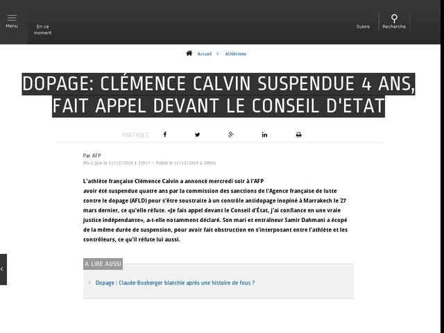 Athlétisme - Dopage: Clémence Calvin suspendue 4 ans, fait appel devant le Conseil d'Etat