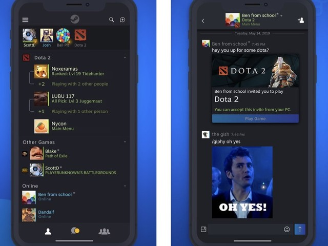 Valve fait feu de tout bois et sort son app Steam Chat sur iOS et Android