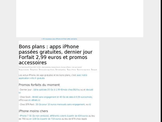 Bons plans : apps iPhone passées gratuites, dernier jour Forfait 2,99 euros et promos accessoires