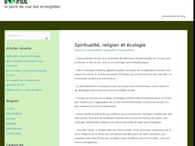 Spiritualité, religion et écologie