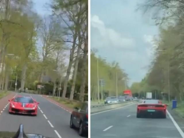 Cet automobiliste suit tranquillement une Ferrari sur l'autoroute, quand soudain... C'est le drame! (vidéo)