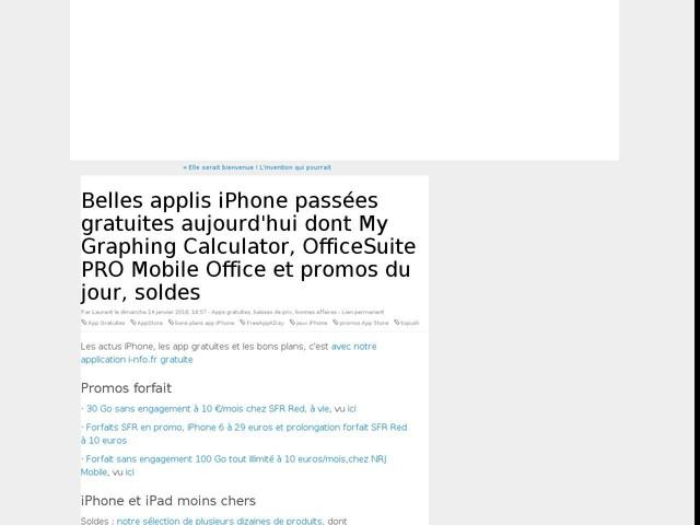 Belles applis iPhone passées gratuites aujourd'hui dont My Graphing Calculator, OfficeSuite PRO Mobile Office et promos du jour, soldes
