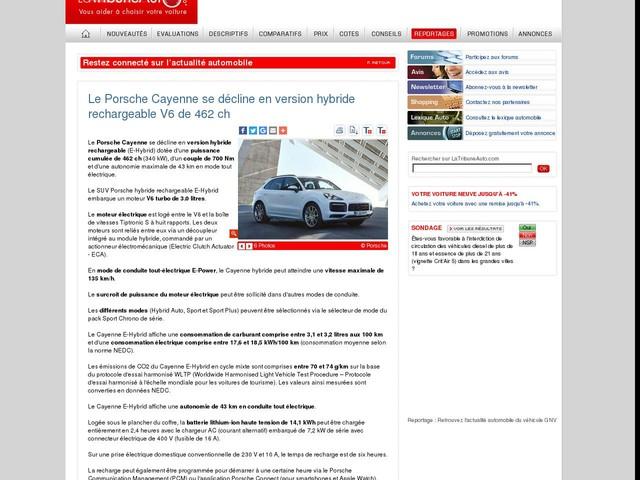 Le Porsche Cayenne se décline en version hybride rechargeable V6 de 462 ch