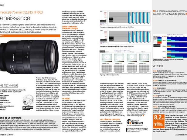 TEST : Tamron 28-75 mm f/2,8 Di III RXD [BONUS MDLP N°108]