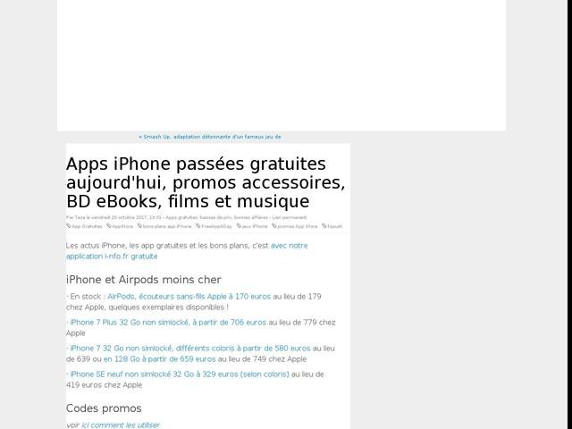 Apps iPhone passées gratuites aujourd'hui, promos accessoires, BD eBooks, films et musique