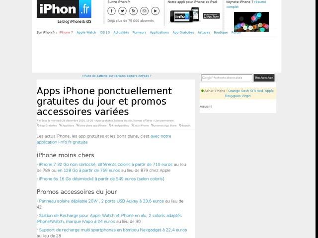 Apps iPhone ponctuellement gratuites du jour et promos accessoires variées