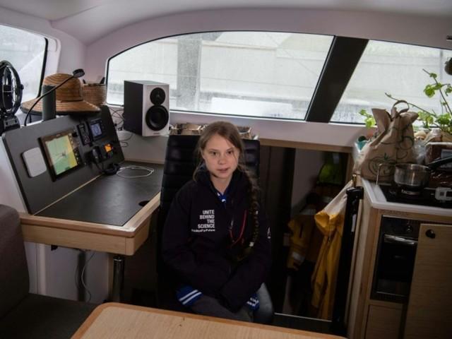 Greta Thunberg a quitté les Etats-Unis en catamaran, direction l'Europe (AFP)
